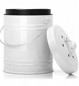 Bac à Compost de Cuisine Surdimensionné de 5 Litres avec Bac en Plastique & Filtres à Charbon en Blanc/Noir – Construction Robuste & Fermeture Etanche pour Prévenir des Insectes et Odeurs de la marque Cooler Kitchen image 0 produit
