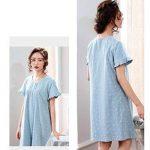 Pyjama ZHAOJING coton été chemise de nuit d'été section mince à manches courtes mère d'âge moyen coton d'été plus engrais XL robe de la marque Pyjama image 3 produit
