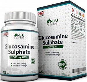 Sulfate de Glucosamine 1,500 mg 2KCl, 365 Comprimés (Approvisionnement pour 1 An)   Haute Puissance   Fabriqué au Royaume-Uni par Nu U Nutrition de la marque Nu U image 0 produit