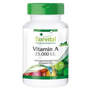 Vitamine A 25.000 U.I. 90 gélules, haute dose, substance pure, végan, approvisionnement trimestriel, pour la peau et les yeux de la marque fairvital image 0 produit