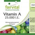Vitamine A 25.000 U.I. 90 gélules, haute dose, substance pure, végan, approvisionnement trimestriel, pour la peau et les yeux de la marque fairvital image 3 produit