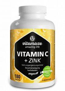 Vitamine C fortement dosée 1000 mg + bioflavonoïdes + zinc, 180 comprimés végétaliens, quantité pour 6 mois, produit de qualité allemande sans stéarate de magnésium, GARANTIE DE REMBOURSEMENT À 100 % de la marque Vitamaze - amazing life image 0 produit